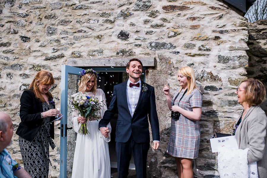An Eco Friendly Elopement at Nantwen in Pembrokeshire, Captured by O&C Photography - confetti shot