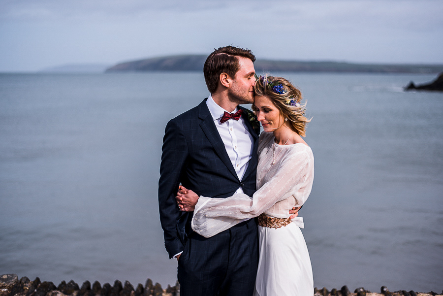 An Eco Friendly Elopement at Nantwen in Pembrokeshire, Captured by O&C Photography - coastal couple portrait