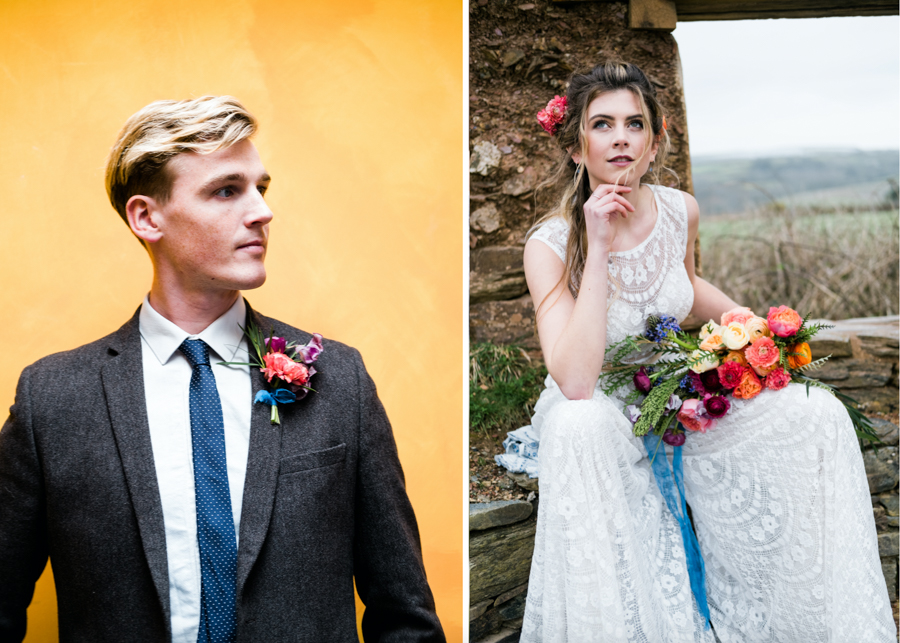 INSPIRATION - A Vibrant Ethnic-Inspired Wedding From Tide Flowers, Captured By Verity Westcott At GREEN UNION Venue Partner, Mount Pleasant Eco Park, Cornwall - bride and groom