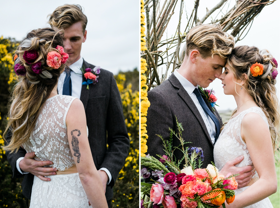 INSPIRATION - A Vibrant Ethnic-Inspired Wedding From Tide Flowers, Captured By Verity Westcott At GREEN UNION Venue Partner, Mount Pleasant Eco Park, Cornwall - Melody Rose Hair Stylist