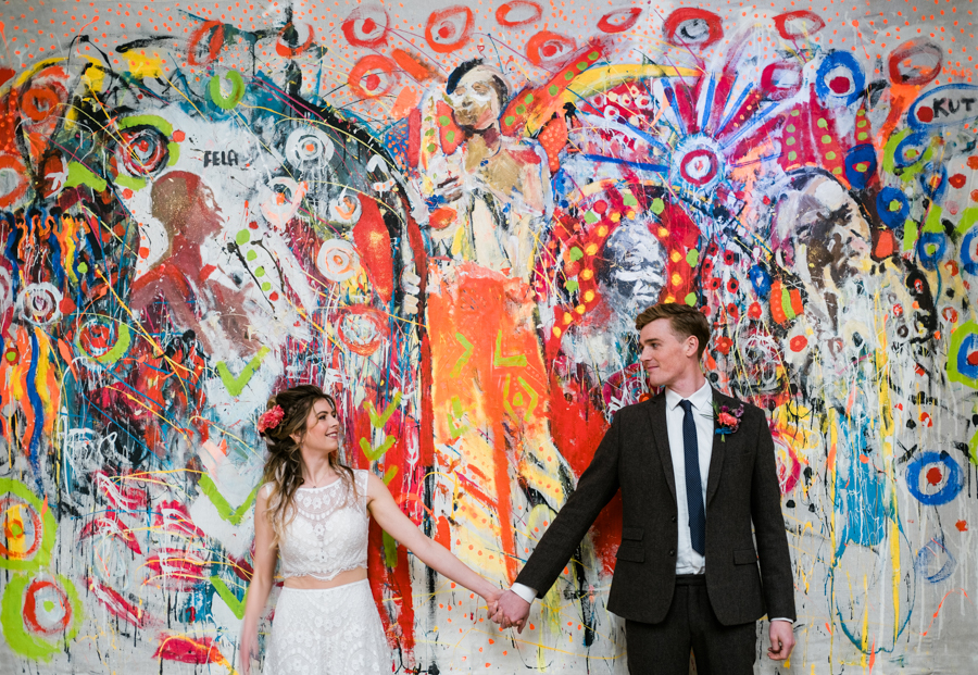 INSPIRATION - A Vibrant Ethnic-Inspired Wedding From Tide Flowers, Captured By Verity Westcott At GREEN UNION Venue Partner, Mount Pleasant Eco Park, Cornwall - graffiti background