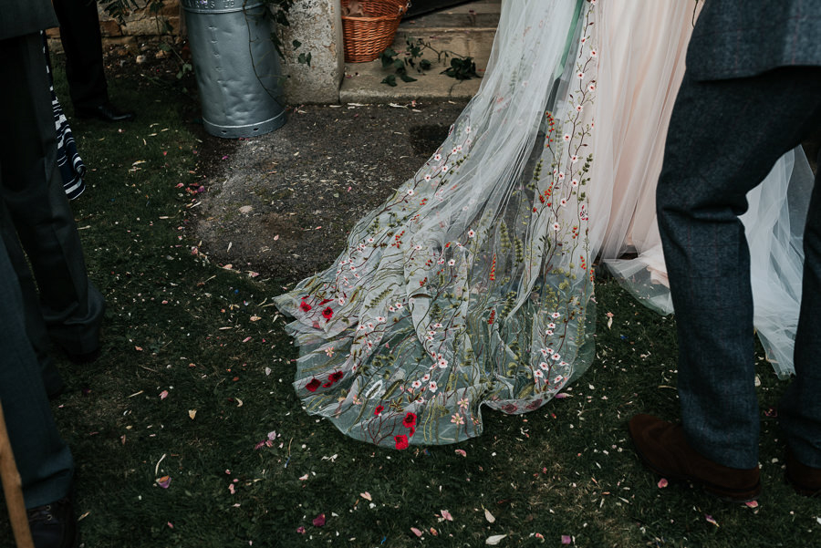 REAL WEDDING - Emily and Ashley's Rustic DIY Leicestershire Wedding, Captured by Jenny Appleton Photography - embroidered veil