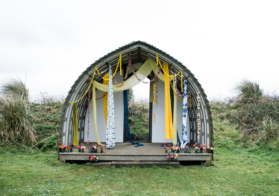 INSPIRATION - A Vibrant Ethnic-Inspired Wedding From Tide Flowers, Captured By Verity Westcott At GREEN UNION Venue Partner, Mount Pleasant Eco Park, Cornwall - ceremony