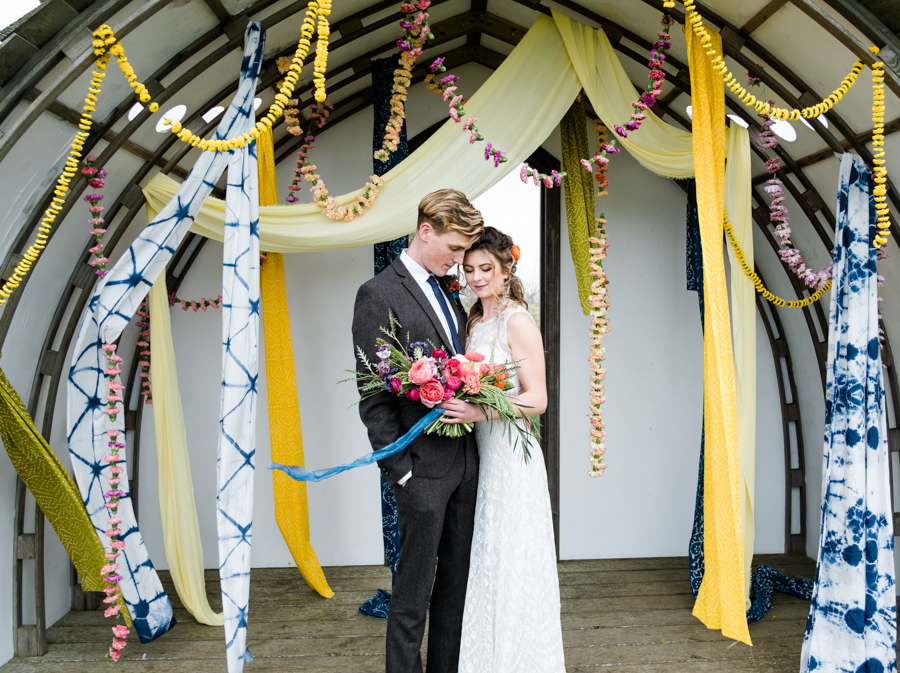 INSPIRATION - A Vibrant Ethnic-Inspired Wedding From Tide Flowers, Captured By Verity Westcott At GREEN UNION Venue Partner, Mount Pleasant Eco Park, Cornwall - wedding ceremony