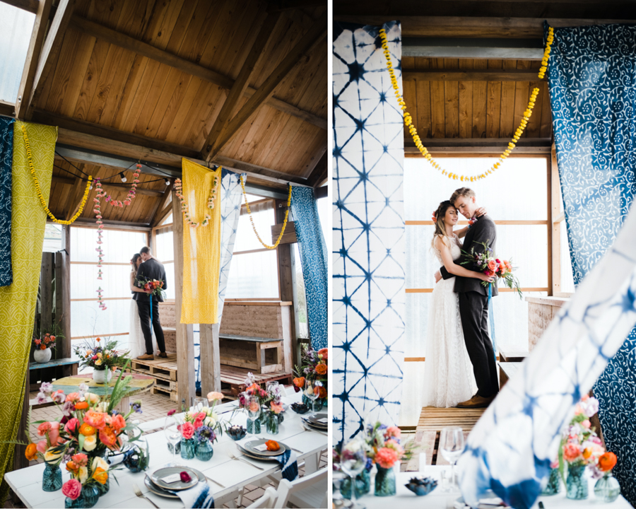 INSPIRATION - A Vibrant Ethnic-Inspired Wedding From Tide Flowers, Captured By Verity Westcott At GREEN UNION Venue Partner, Mount Pleasant Eco Park, Cornwall. - couple portraits