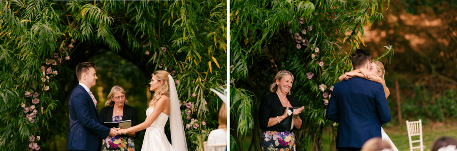 REAL WEDDING - The Eco-Conscious Woodland Wedding Of Emily And Daniel, Captured By Gina Manning Photography At Chaucer Barn, Norfolk - vows and first kiss