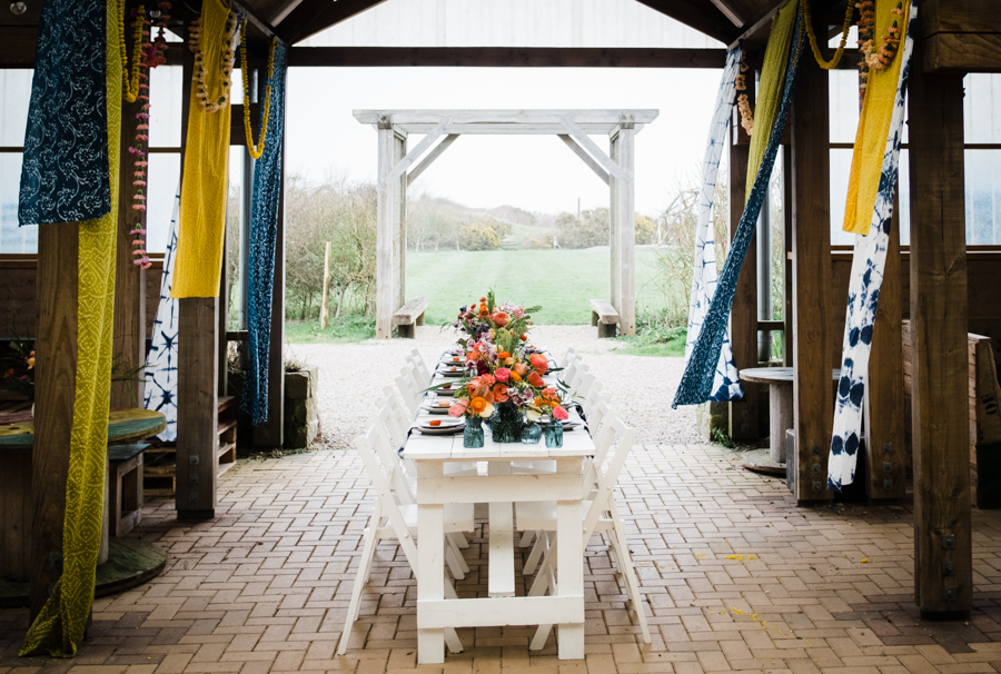INSPIRATION - A Vibrant Ethnic-Inspired Wedding From Tide Flowers, Captured By Verity Westcott At GREEN UNION Venue Partner, Mount Pleasant Eco Park, Cornwall - tablescape