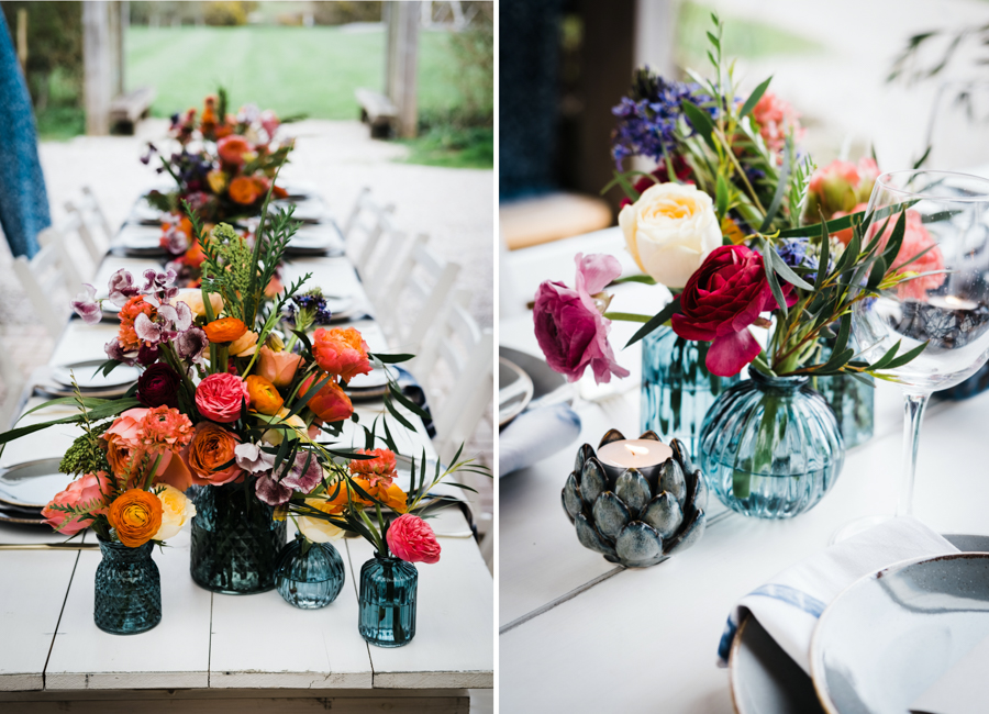 INSPIRATION - A Vibrant Ethnic-Inspired Wedding From Tide Flowers, Captured By Verity Westcott At GREEN UNION Venue Partner, Mount Pleasant Eco Park, Cornwall - reception table flowers