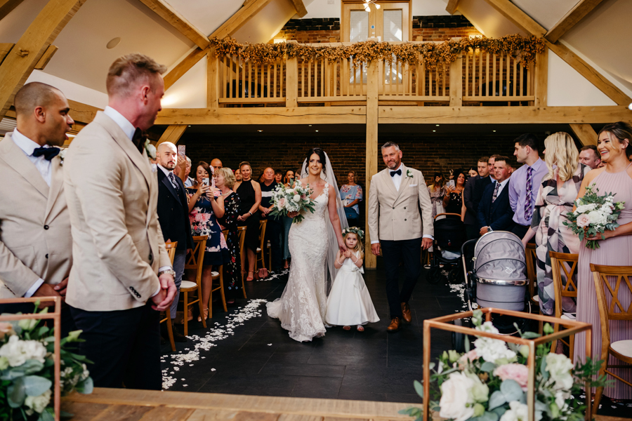 The Entrance of the Bride, Mythe Barn Wedding, Ed Brown Photography