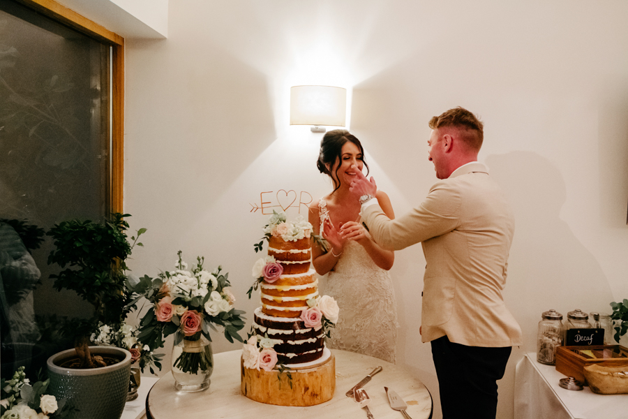 Wedding Cake Cutting, Mythe Barn Wedding, Ed Brown Photography
