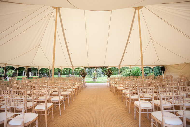 Beautiful interior of their Pearl Wedding Tent by The Arabian Tent Company