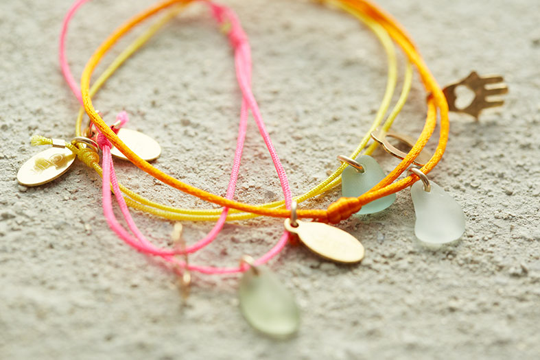 Seaglass, gold and silk friendship bracelet by Drift Jewellery