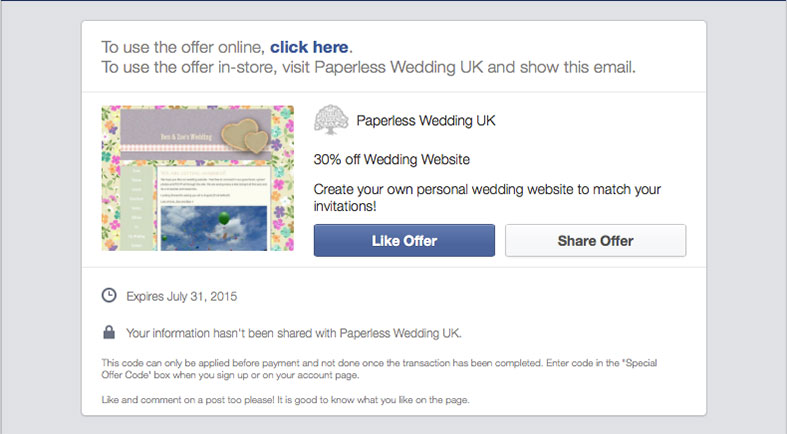 SPECIAL OFFER: Website ONLY special with Paperless Wedding