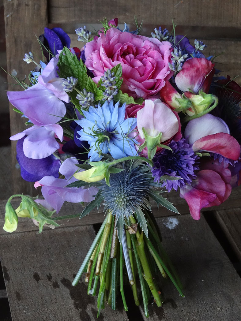 Seasonal home grown June wedding bouquet by Catkin Flowers