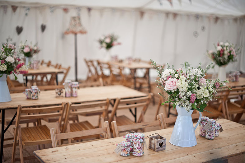 Decorated tent interior by Posh Frocks and Wellies