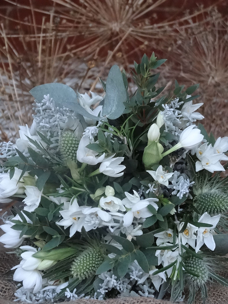 A January wedding bouquet of English flowers from Catkin Flowers