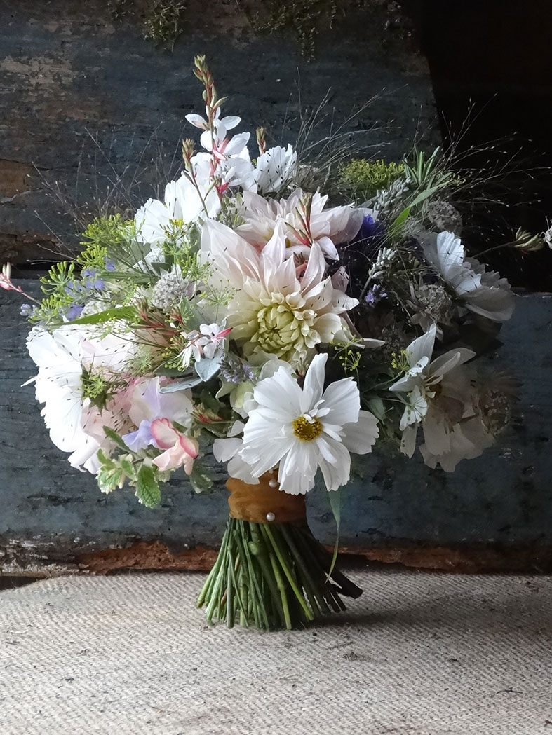A September wedding bouquet of cutting garden flowers by Catkin Flowers