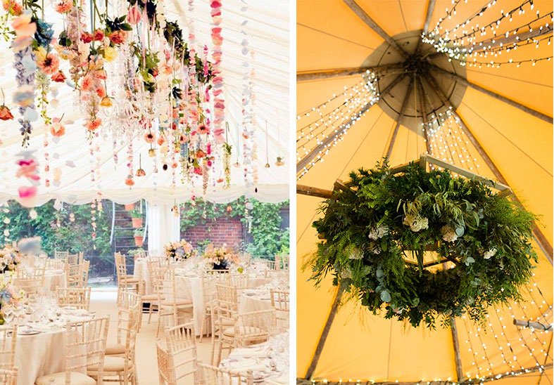 Flowers green wedding flower trends for 20162017 green union decorate with hanging flowers and foliage chandeliers aloadofball Gallery