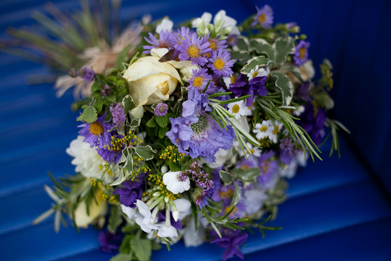 Bouquet with blue flowers by Organic Blooms