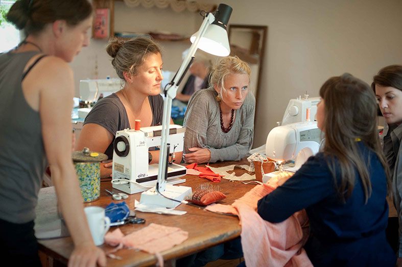 Pop up sewing bee at Welsh Green Weddings HQ