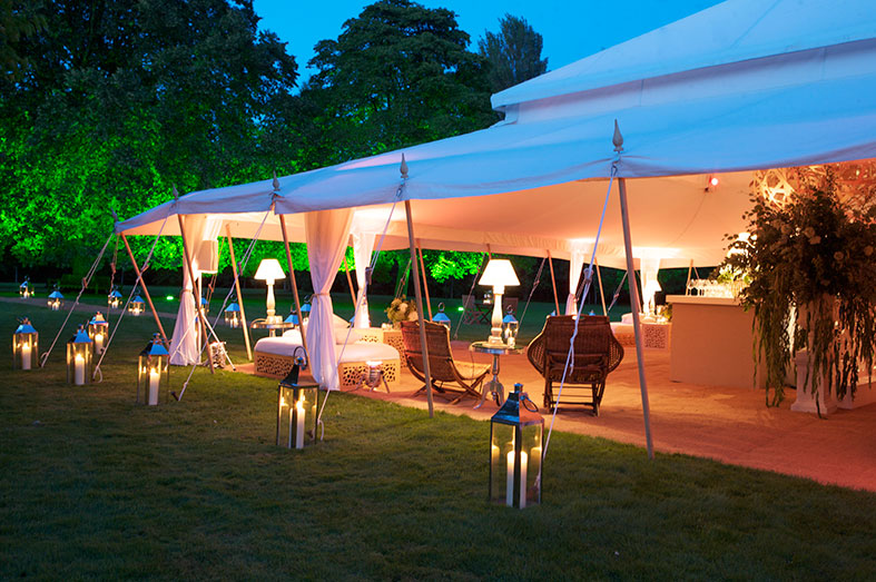 Glamorous white canvas marquee by The Pearl Tent Company