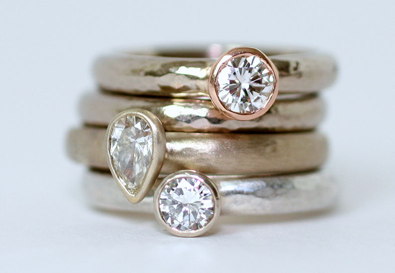 Ethical solitaire engagement ring stack by Glasswing Jewellery