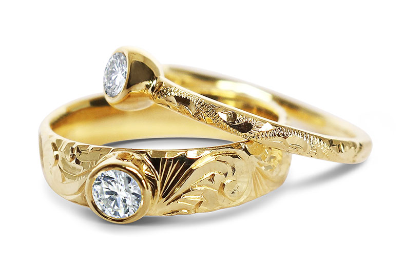 Faritrade gold and diamond filigree engagement rings by Arabel Lebrusan
