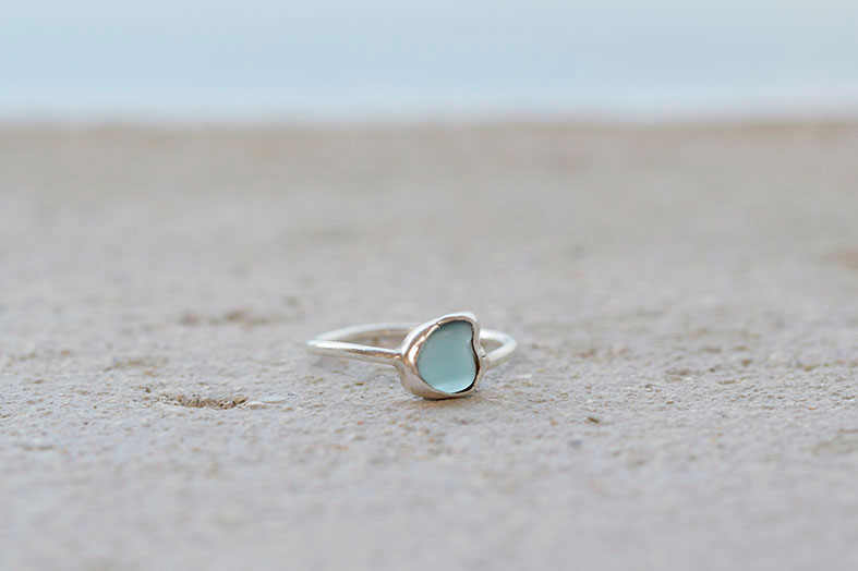 Image: Drift Jewellery - pale blue seaglass ring set in silver