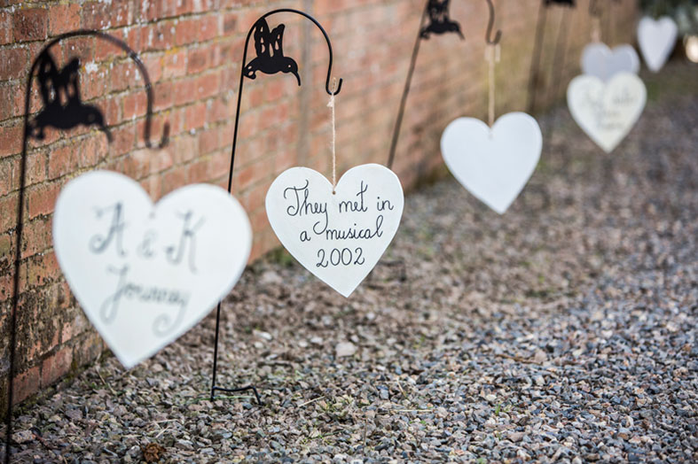 Hanging hearts spelled out our love journey