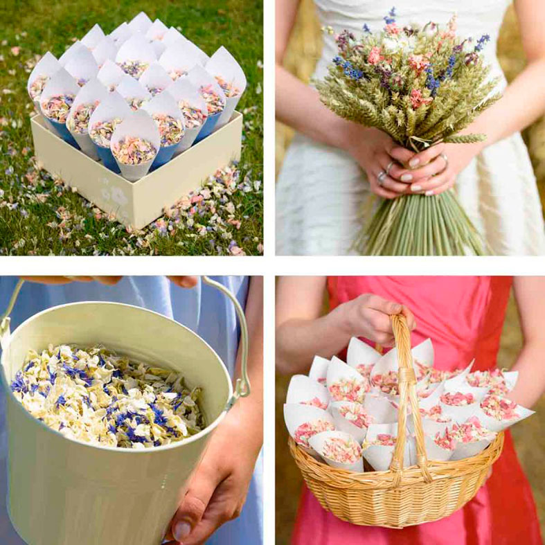 Confetti cones, wheat sheaf bouquets, confetti pails or baskets