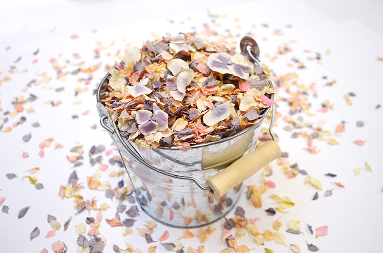 Natural wedding confetti made from dried home grown flower petals