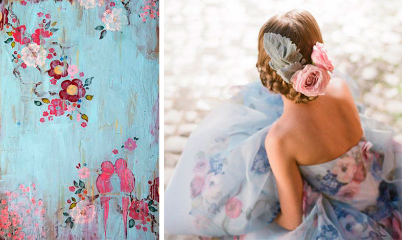 Use the colours in fresh ways like a stunning print bridal gown
