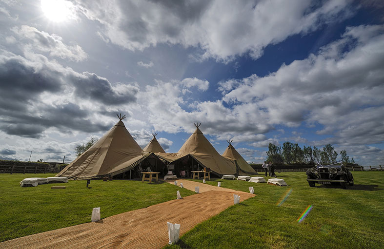 Fantastic giant wedding tipis by Event in a Tent