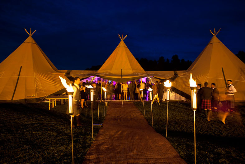 Highland Tipis are spectacular at night