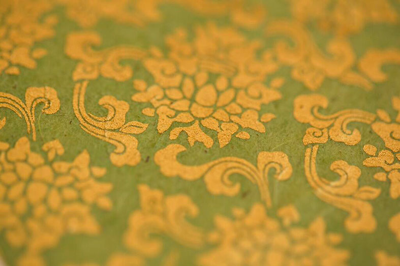 Ornate patterns in exotic colours silkscreen printed on hand made papers