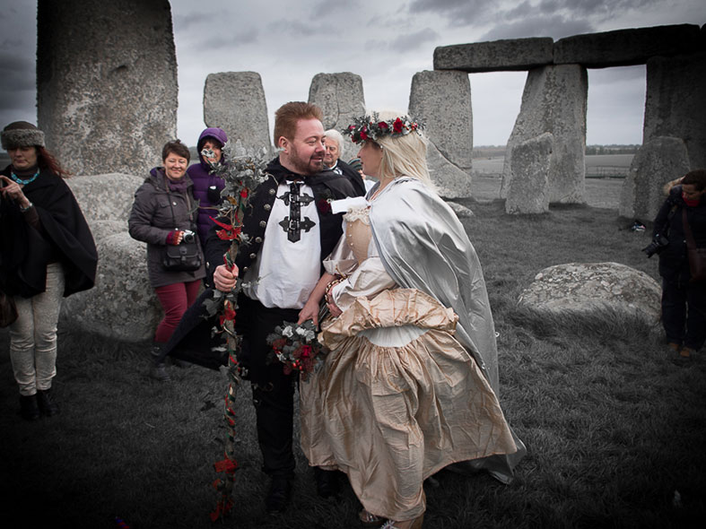 Early morning pagan wedding ceremony at the Stones