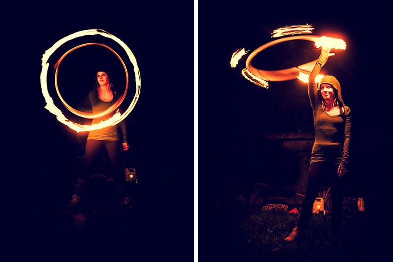 A magical party with fire performers in the gardens