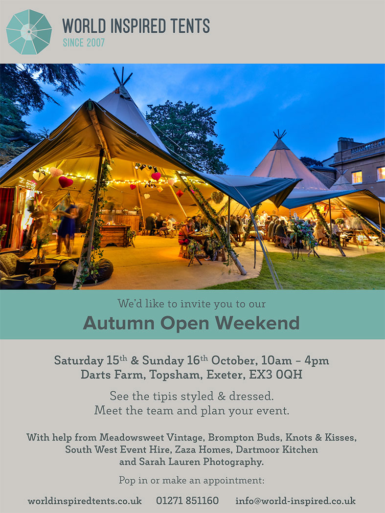 World Inspired Tents Autumn Open Weekend  | Saturday & Sunday 15th & 16th October 2106