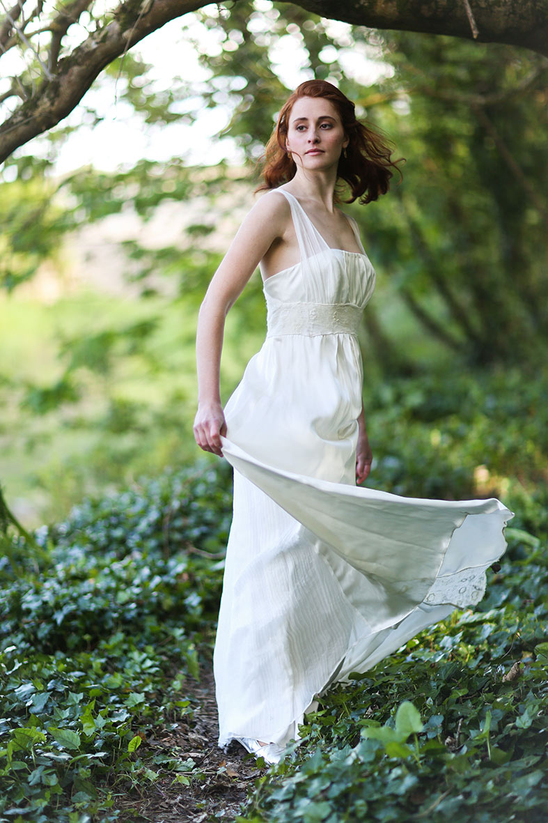 Wedding gown of upcycled silks and detailed with inset silk panels