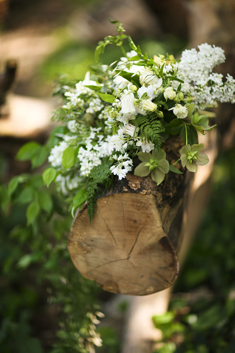 Spring woodland flowers and greenery for the bridal bouquet