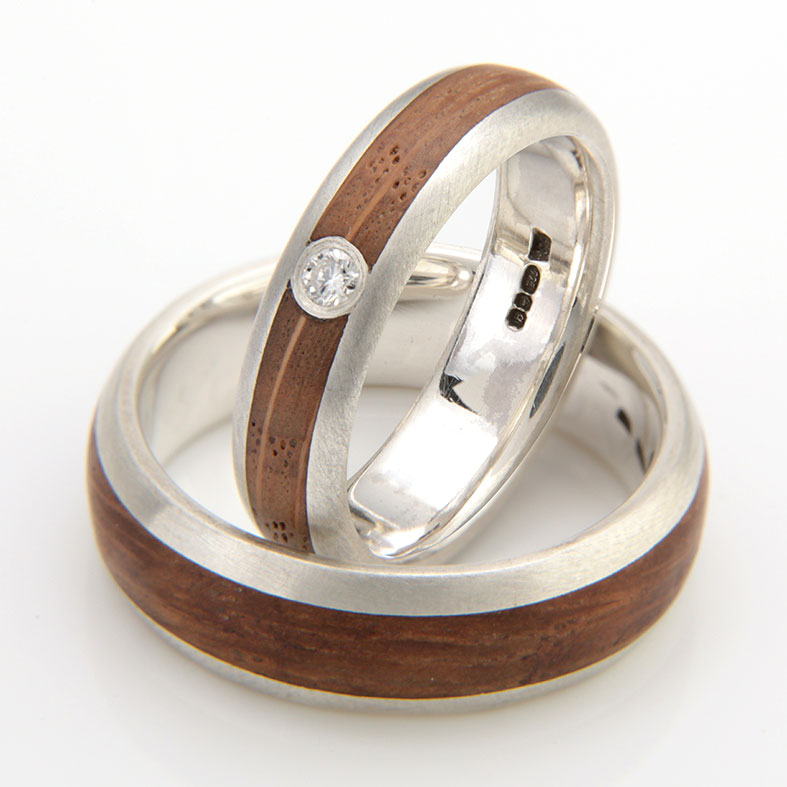 Oak, ethical diamond and recycled silver engagement ring by Eco Wood Rings
