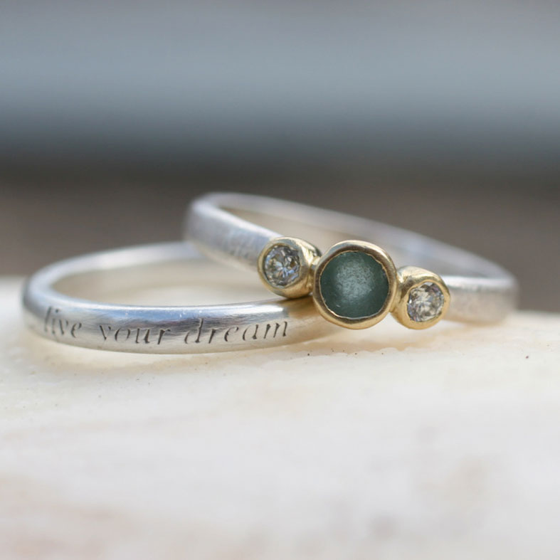 Seaglass and ethical diamond engagement ring by Glasswing Jewellery