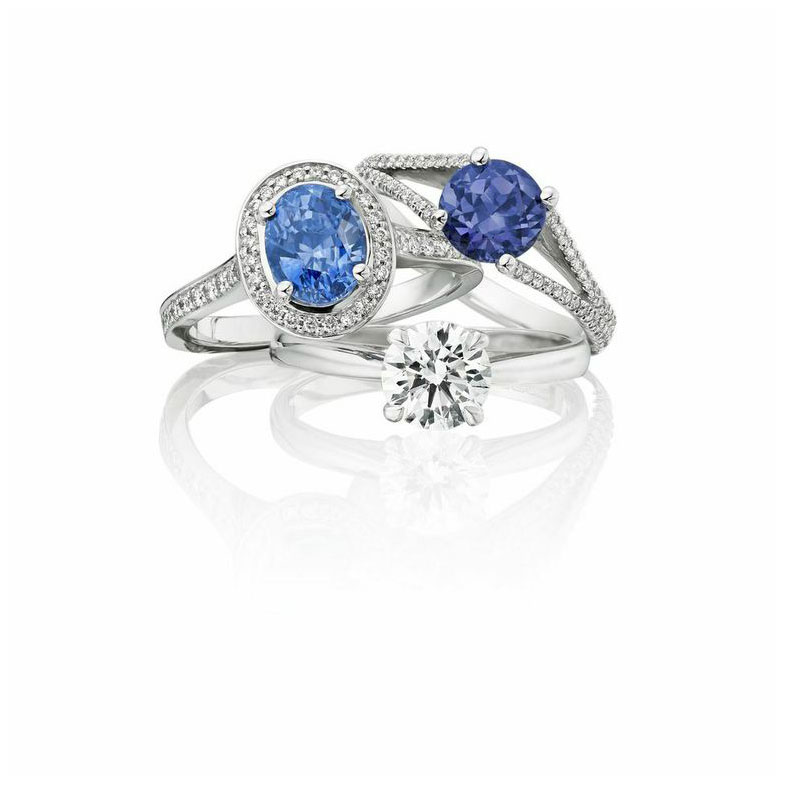 Classic ethical sapphire and diamond engagement rings by Ingle and Rhode