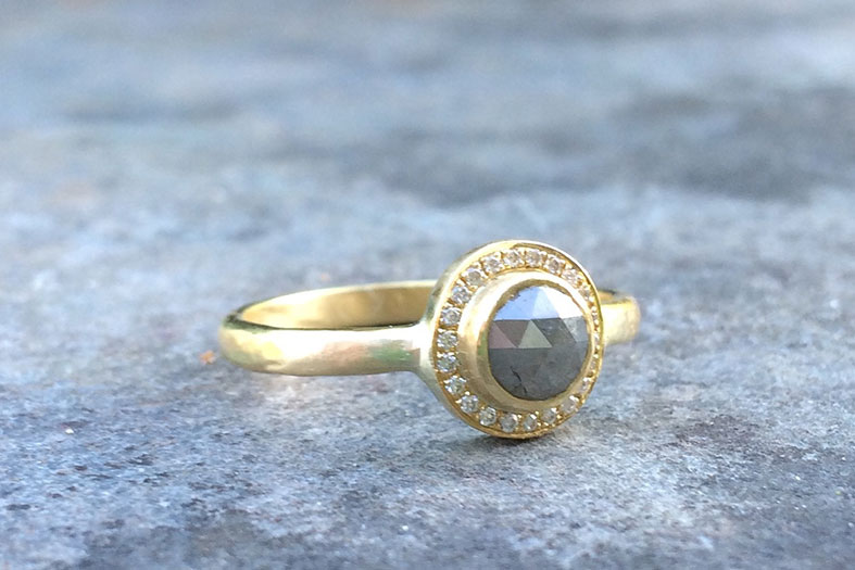 Grey rosecut diamond engagement ring by Slade Fine Jewellery