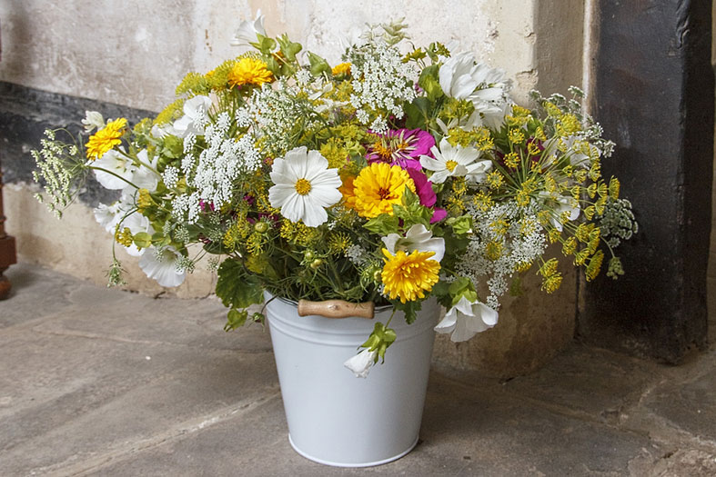 Organic Blooms can supply buckets of cut flowers for the DIY bride
