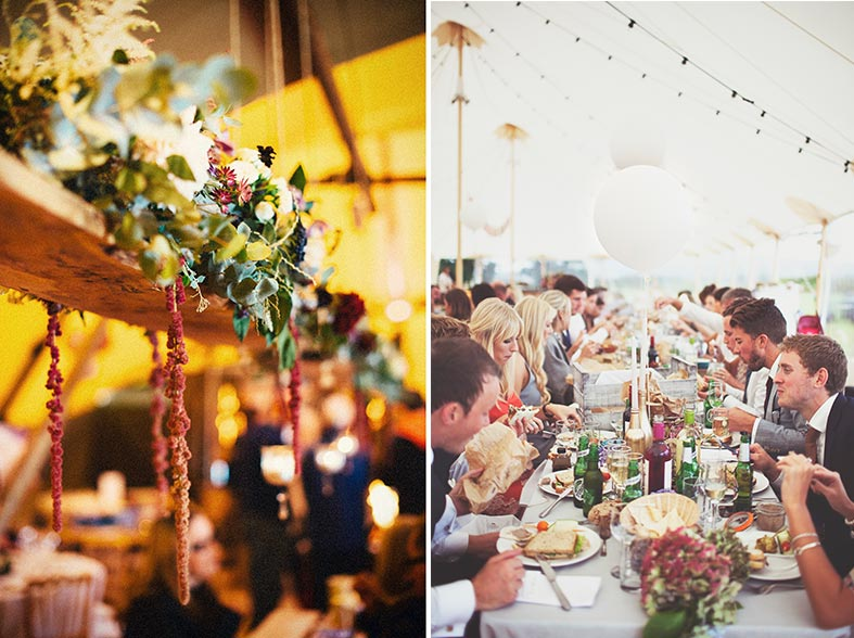Hanging floral swings and long sharing tables are on trend for 2015
