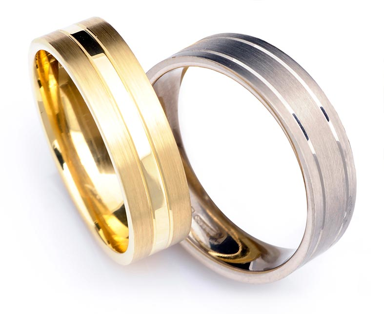 Mens engraved wedding rings by Cred Jewellery