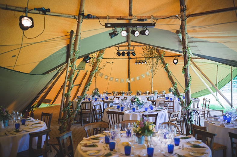 Joining several Giant Hat tipis together creates a great space inside