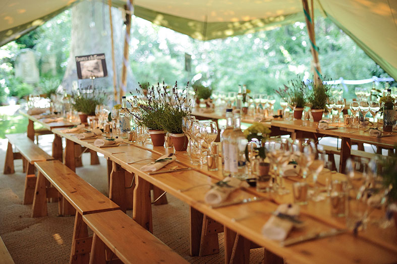 Long trestle tables hand made for The Stunning Tents Company in Sweden