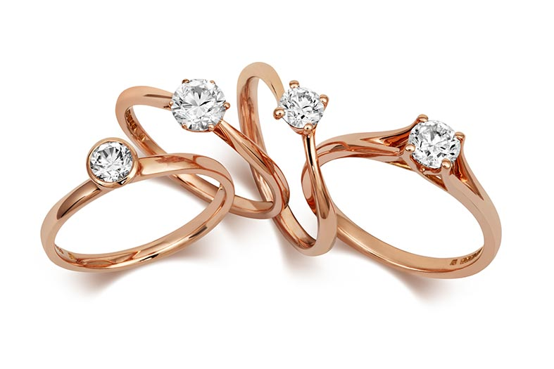 Rose gold and conflict free diamonds solitaire rings by Cred Jewellery